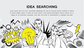 Idea searching - retro comic style banner. Comic style design concept of idea idea searching, finding solution, brainstorming, creative thinking. Modern retro Royalty Free Stock Image