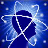 Idea silhouette head man and phosphorescence Stock Photography
