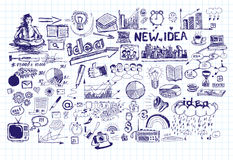 Idea Sketch Background With Pen Drawn Elements Royalty Free Stock Photos