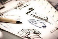 Idea sketch of product design Stock Photo