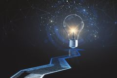 Idea and solution concept. Creative background with arrows and glowing lamp. Idea and solution concept. 3D Rendering Stock Image