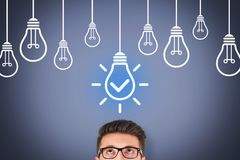 Idea Solution Concepts with Light Bulb on Visual Screen. Business working concepts royalty free stock photos