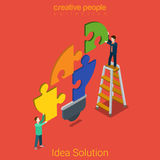 Idea solution problem lamp business flat 3d vector isometric. Idea solution flat 3d isometry isometric problem concept web vector illustration. Young men Stock Photography