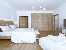 Idea of spacious high-tech bedchamber Royalty Free Stock Image