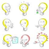 Idea stabilita di tiraggio della mano di schizzo del fumetto della lampadina illustrazione di stock