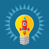 Idea and start-up concept illustration. Rocket in lightbulb - creative illustration in flat style design. Royalty Free Stock Image