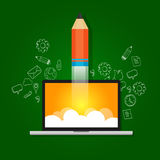 Idea startup technology launching take off pencil Royalty Free Stock Photo