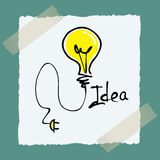 Idea sticker with bulb Stock Images