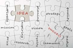 Idea for success. Written on puzzle Royalty Free Stock Photos