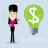 Idea successful business woman. Cartoon character.Vector Illustration, Lamp idea concept. Stock Photography
