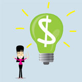 Idea successful business woman. Cartoon character.Vector Illustration, Lamp idea concept. Stock Photo