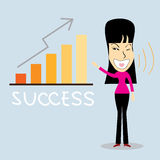 Idea successful business woman. Cartoon character.Vector Illustration, Lamp idea concept. Stock Image