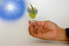 Idea, sun with hands Stock Photos