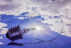 Idea, sun,light  bulb Royalty Free Stock Image