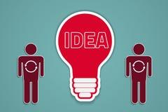 Idea sync. Man getting an idea, bulb vector concept Stock Photo