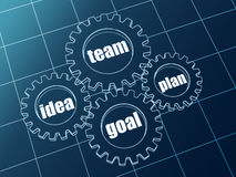 Idea, team, plan, goal in blue gearwheels Stock Photos