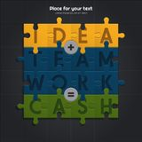 Idea and teamwork is equal to financial success. Illustration of puzzle pieces. Vector. Idea and teamwork is equal to financial success. Illustration of puzzle Royalty Free Stock Photos