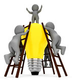 Idea Teamwork Indicates Light Bulb And Combined 3d Rendering Royalty Free Stock Image