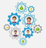 Idea of teamwork and success, business people enclosed in cogwhe Royalty Free Stock Image