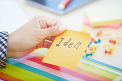 Idea text on adhesive note Royalty Free Stock Photography
