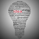 Idea text collage Composed in the shape of bulb Stock Photos