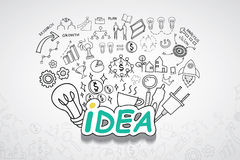 Idea text, With creative drawing charts and graphs business success strategy plan idea, Inspiration concept modern design template. Workflow layout, diagram Royalty Free Stock Images