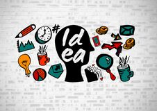 Idea text with drawings graphics Stock Photo