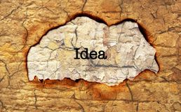 Idea text on paper hole Royalty Free Stock Images