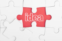 Idea text on puzzle Stock Image