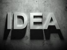 Idea text with shadow, word Stock Photo