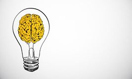 Idea and think concept. Creative brain lamp sketch on concrete wall background with copy space. Idea and think concept royalty free stock images