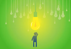 Idea Thinking. A man thinking about an idea. A light bulb thinks Royalty Free Stock Photo