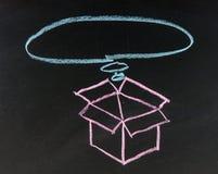 Idea thinking outside the box written on blackboard. Business idea thinking outside the box written on blackboard background with box sign Royalty Free Stock Image