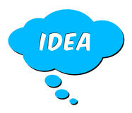 Idea in thought bubble. Isolated blue thought bubble with word Idea Vector Illustration