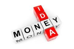 Idea To Money Concept. Idea and money crossword cubes Stock Photography