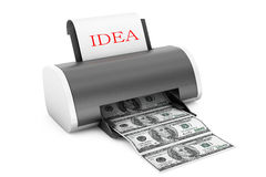 Idea to Money Concept. Printer convert Idea to Money Stock Photo