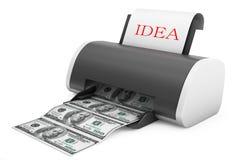 Idea to Money Concept. Printer convert Idea to Money Royalty Free Stock Photography