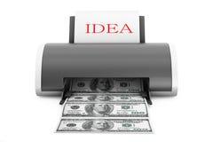 Idea to Money Concept. Printer convert Idea to Money Stock Images