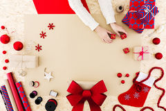 Idea to pack xmas present Stock Photography