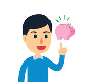 Idea To Saving. Young man have a good idea to saving his money royalty free illustration