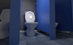Idea in the Toilet. 3D illustration of an idea light bulb going in or coming out of the toilet Royalty Free Stock Photos