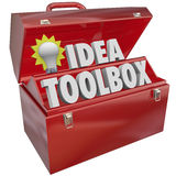 Idea Toolbox Creativity Inspiration Brainstorming Light Bulb Too. Idea Toolbox with words and lightbulb in a red metal box of tools to illustrate creativity stock illustration