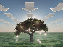 Idea tree with clouds Stock Photo