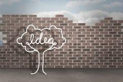 Idea tree doodle against brick wall background Stock Photo