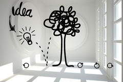 Idea tree graphic in bright room Royalty Free Stock Images