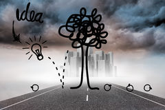 Idea tree graphic over cityscape on street Stock Photography