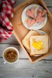 Idea for Valentine`s day, romantic breakfast Stock Photos