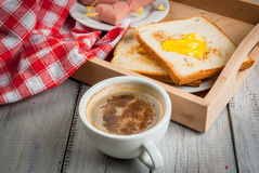 Idea for Valentine`s day, romantic breakfast Royalty Free Stock Photos