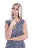 Idea: woman thinking with pen in hand isolated on white background royalty free stock images