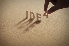 IDEA wood word on compressed board Royalty Free Stock Photography